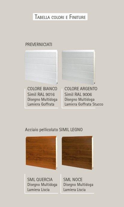 Tabella colori e finiture delle porte basculanti Velox P multidoga